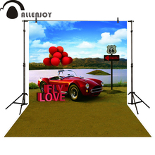Allenjoy photography backdrop river red car balloon wedding backgrounds for photo studio props photobooth photocall(China)