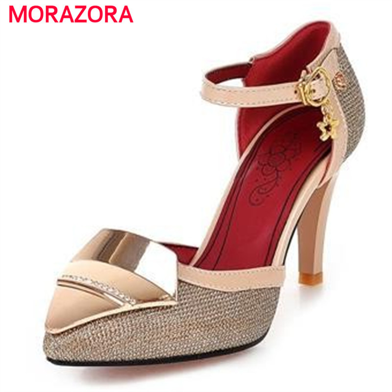 MORAZORA Hot sale high heels  women pumps gold silver pointed toe summer party wedding shoes large size 34-44<br>