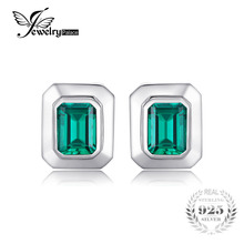 JewelryPalace Men 4ct Created Emerald Cufflinks Genuine 925 Sterling Sliver Cufflinks for Men Fine Jewelry Brand(China)