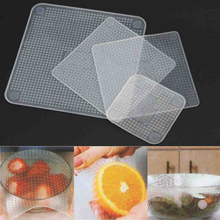 Keythemelife 4pcs Food Fresh Keeping Saran Wrap Kitchen Tools Reusable Silicone Food Wraps Seal Vacuum Cover Lid Stretch 8D