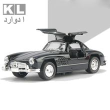 KL Children Gift 1:32 Scale Metal Classic Alloy Pull Car With Light And Music Retro Boy Mini Toy Cad Ford Model Four Color 5A#
