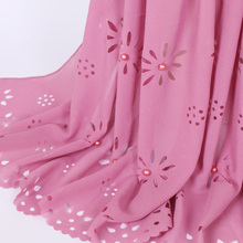 27 color 180*85cm Colored pearl bubble chiffon laser cut floral beads hollow shawls hijab popular plain muslim scarf(China)