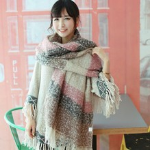 New Winter Scarf fashion stripe color Mohair scarf shawl collar super soft warm