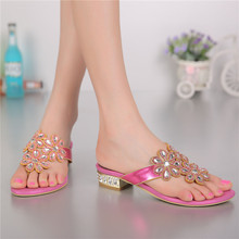 2016 Summer New Pink Wedge Sandals Elegant Diamond Shoes Fashion Casual Flat Flip Flops Slippers Slipper Women High Quality