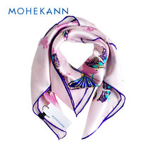 Fashionable 12-momme Quality Silk Scarf Butterfly Flower Pattern Scarves & Shawls Handrolled Hems Lady's Dress Accessory