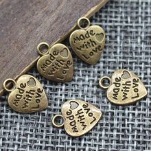 9*12MM 50pcs/lot Heart Shape Vintage Charms Silver/Bronze Plated MADE WITH LOVE CZ Pendants Necklace&Bracelet Diy Pendants Beads(China)