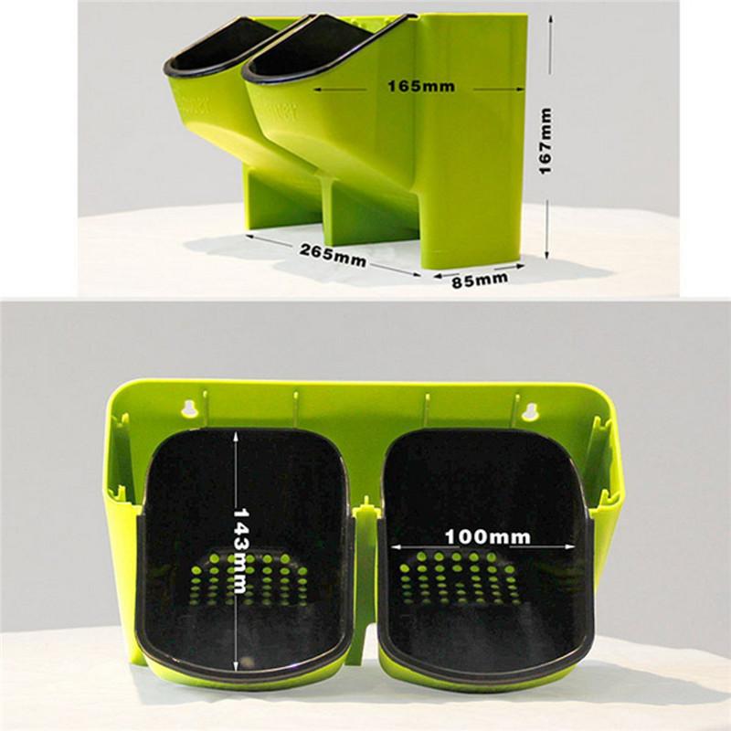 Stackable 2-Pockets Vertical Wall Planter Self Watering Hanging Garden Flower Pot Planter for Indoor/Outdoor 11