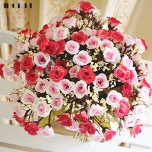 1Pcs 15 Heads Artificial Rose Flower Wedding Bouquet Small Bud Silk Plastic Rose Decorative Flowers Home Party Decorations