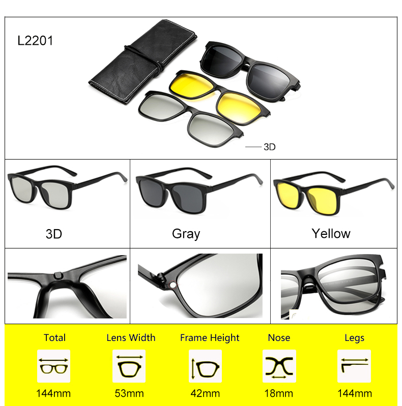 Ralferty 2018 Multi-Function Magnetic Polarized Clip On Sunglasses Men Women Ultra-Light TR90 3D Yellow Night Vision Glasses 4