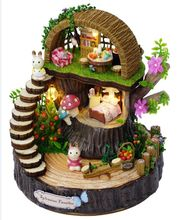 Miniature Fantasy Forest Dollhouse Furniture Kits DIY Wooden Dolls House With LED Lights Craft Model Handmade Christmas Gift