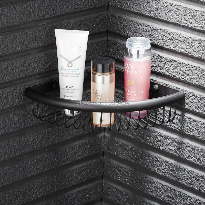 Wholesale and Retail Euro Style Copper Bathroom Accessories Basket Shelf Wall Mounted Black Basket Storage BS3234<br><br>Aliexpress
