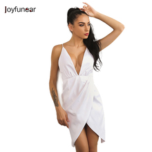 New Arrivals Sexy Club Wears Women Dress Off Shoulder Deep V Neck Asymmetry White Bandage Backless Keen-length Dresses(China)
