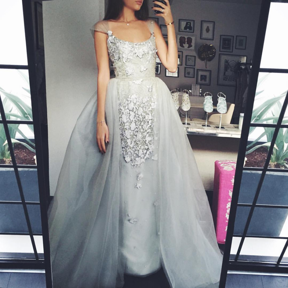 Detachable Tulle Skirt Prom Dresses Arabia Dress Cap Sleeves Lace Appliques Women Formal Party Dress robe de soiree longue WH57
