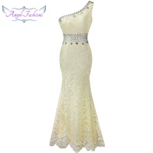 Angel-fashions One Shoulder See Through Crystal Lace Wedding Dress Apricot 107(China)