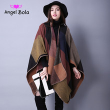 AngleBola Hot Knitting Shawl Collar Cashmere Pashmina Scarf Shawls and Wraps Winter Cashmere For Women Party Cardigan Scarf