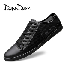 Buy Men's Leather Casual Shoes Classic Fashion Male Lace Flats Black White Men Krasovki Breathable Tenis Masculino Plus Size for $28.61 in AliExpress store