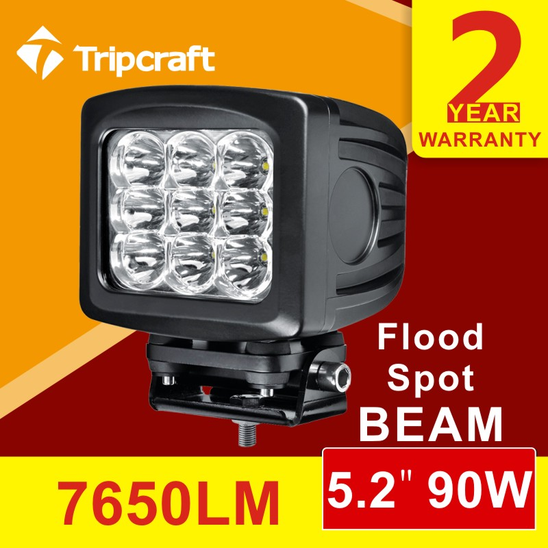 5.2 inch 90w spot/flood led work light for driving lamp off-road Fog light for trcuk 12v 24v<br><br>Aliexpress