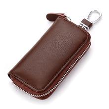 High Quality Men Women Car Key Holder Wallets Cow Leather Housekeeper Card Zipper Case Keys Organizer Money Bag Cheap LT88