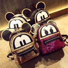 Super sequin backpack 3D cat bags Mickey Mouse backpack bag big ears child cute cartoon Mini Backpack lovely Emoji bag(China)