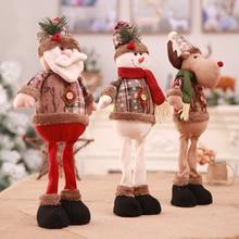 Christmas Decorations Home Santa Claus Snowman Elk Telescopic Dolls Standing Figurines Xmas Tree Hanging Ornaments Pendant