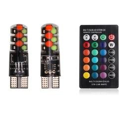 Универсальный автомобильный габаритный фонарь W5W T10 RGB, RGB COB 12SMDs с дистанционным управлением