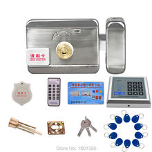 Intercom RFID Access Control System Wooden Glass gate Door lock kit+ Electric gate Lock 10 ID tag chips+Power adapter(optional)