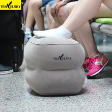 Newest Kids Sleeping Travel Pillow For Airplane Car Large Valve Inflatable Pillow Flocking Leg Resting Travel Foot Rest Pillows(China)