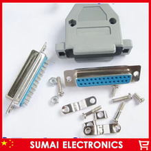 Serial DB25 female Jack DB25 female set Solder Plug Connector with Plastic Shell(China)