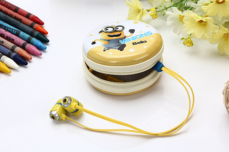 2017 Minions L-3 In-Ear stereo earphone for Iphone samsung MI LG storage box cartoon earbuds microphone with mic best gift<br><br>Aliexpress