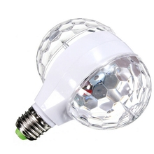 100% NEW Double Head LED Stage Lights RGB Crystal Ball Rotating Lights 6 Leds E27 3W KTV Bar Bedroom Disco Party Decora Lamp