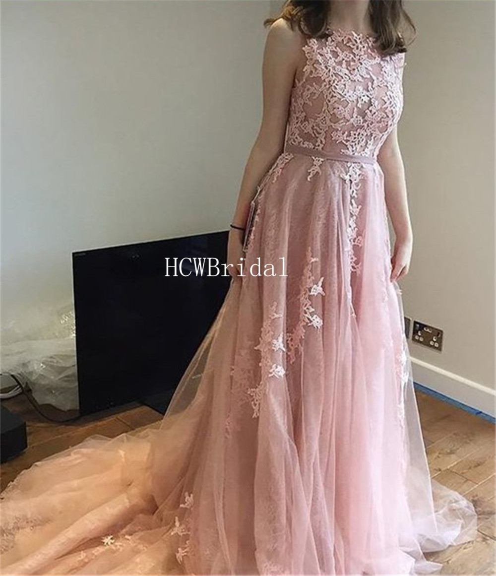 Wonderful Dust Blush Appliques Tulle Evening Dress Sweep Train A Line Floor Length Long Elegant Prom Dresses Custom Made 2019