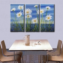 Free shipping! Beautiful Modern handmade daisy oil painting in group 3 pieces white flower decoration unframed