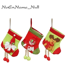New Year Lovely Santa Claus Snowman Deer Ornaments Christmas Stockings Tree Decorations Xmas Festival Gift Holders Bags Hot Sale(China)