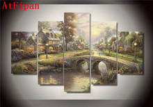 AtFipan Modular Pictures 5 Panels Thomas Kinkade Forest Landscape Scenery Canvas Painting On The Wall Pictures For Living Room(China)