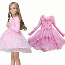 2017 Flower Girl Dress Princess tutu party gift wedding veil flower girl dress children dress pink green macarons candy colors(China)