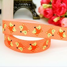7/8'' Free shipping fox printed grosgrain ribbon headwear hair bow diy party decoration wholesale OEM 22mm B1441(China)