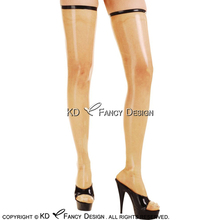 Buy Transparent Black Sexy Long Latex Stockings Trims Top Around Zippers Back Rubber Thigh high stockings WZ-0023