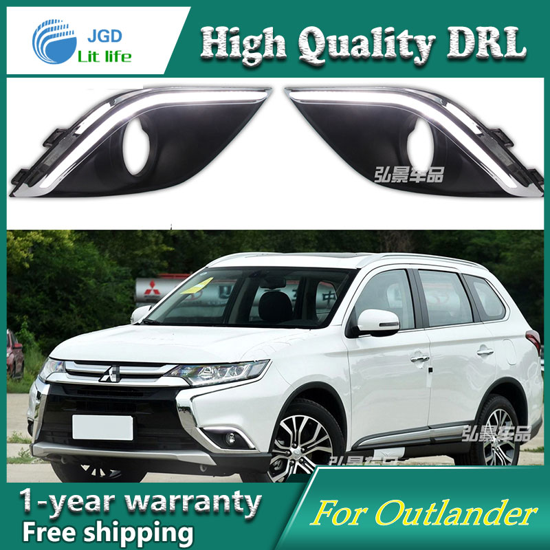 Free shipping ! 12V 6000k LED DRL Daytime running light case for Mitsubishi Outlander 2016 2017 Fog light Car styling<br>