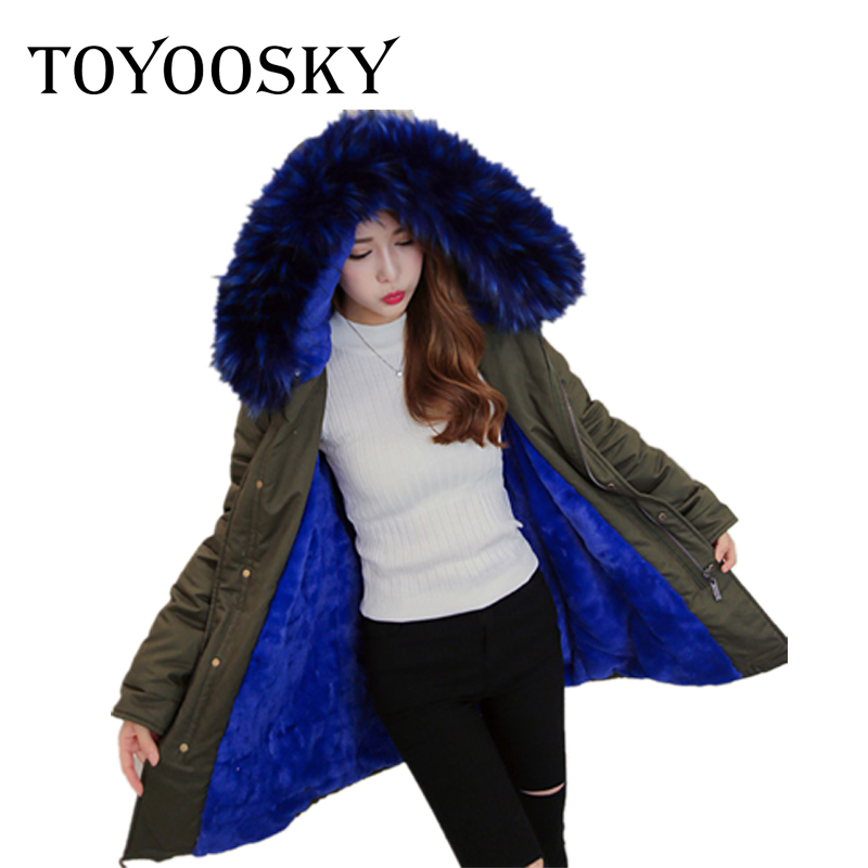 TOYOOSKY Womens army green Large color fox fur hooded coat parkas outwear long Flannel lining winter jacket styleОдежда и ак�е��уары<br><br><br>Aliexpress