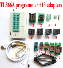 TL866a programmer +13 universal adapters High speed TL866 PLCC AVR PIC Bios 51 MCU Flash EPROM Programmer Russian English manual(China)