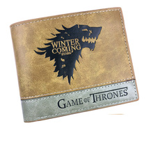 Game of Thrones Winter is Coming Stark Anime Cartoon Men Women Boys Girls Short Leather Bi Fold Wallet Purse Money Holder
