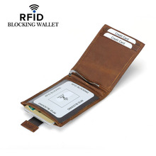 Buy Vintage RFID Blocking Genuine Leather Money Clip Men Slim Thin Mini Wallet Male Small Purse Credit Card Dollar Price for $9.82 in AliExpress store