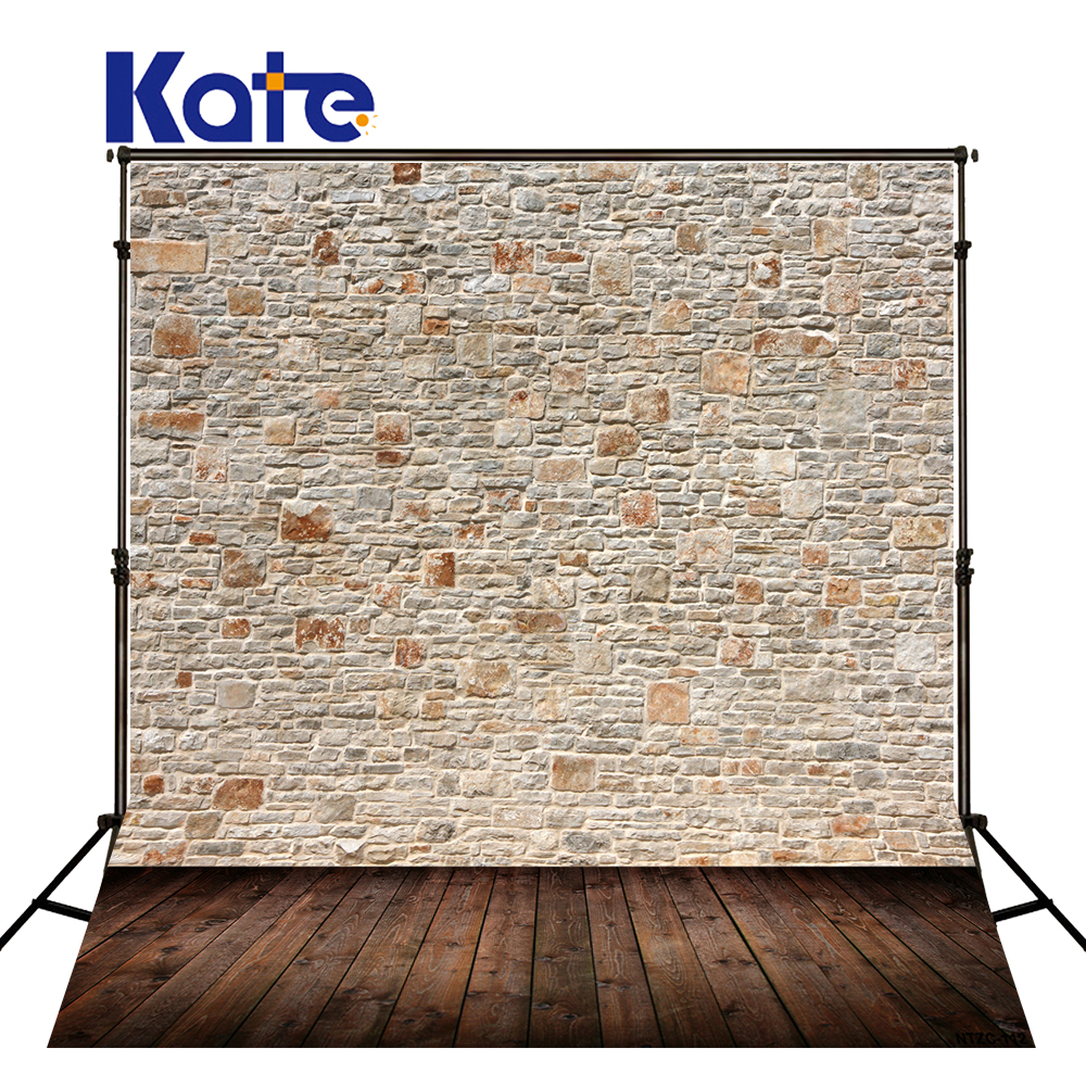 Kate Retro Brick Photography Backdrops Brown Wood Floor Gray Brick Wall For Children,Wedding Photo Studio Background<br>