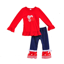 Baby Winter Clothes Red Neck Long Sleeve T-Shirt Blue Ruffle Pants Kids Valentine Gifts Children Girls Boutique Clothing V003