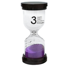Practical Boutique 1 Purple Glass + Sand 3 minute tick time Hourglass With packaging 10 * 4.3cm