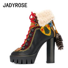 Women Black Genuine Leather Ankle Boots Winter Warm Snow Boots High Heels  Booties Shoes Woman Lace Up Platform Bottine Femme 5497f39a7a89
