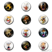 12pcs Tiger 25MM Fridge Magnet Animal Sabre Wulf Gifts Glass Cabochon Kids Note Holder Magnetic Refrigerator Stickers Home Decor(China)
