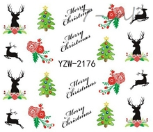 Water Transfer Nails sticker 2176 merry Christmas tree elk Design Fingernails Decals Manicure stickers(China)