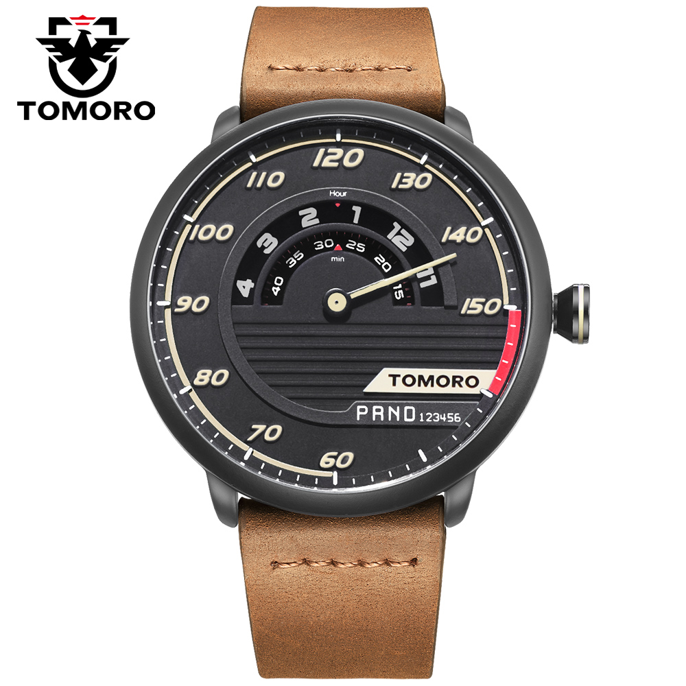 TOMORO Brand Race Original Design Men Luxury Sport Fashion Genuine Leather Quartz Halloween Gift Watches Relogio Masculino 2017<br><br>Aliexpress