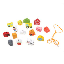 16pcs Wooden Toys Cartoon Animal Fruit Block Stringing Beaded Toy Kid Learning Education Toy for Baby Kids Children